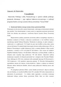 """Nowy system obrony powietrznej """"Tarcza Polski""""-stanowisko PLP  uzasadnienie str.1"""