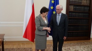 Marszałek Sejmu Ewa Kopacz spotkała się z przewodniczącym Rady EuropejskiejHermanem Van Rompuyem  fot.ŚWIECZAK