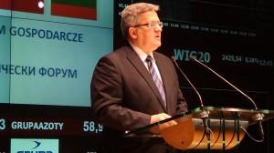 Prezydent RP Bronisław Komorowski Polsko-Bułgarskie Seminarium Gospodarcze-Giełdy Papierów Wartościowych w Warszawie. fot. ŚWIECZAK