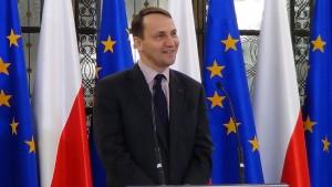 Briefing prasowy marszałka Sejmu Radosława Sikorskiego fot. ŚWIECZAK