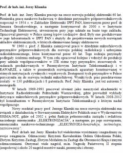 Prof. dr hab. inż. Jerzy Klamka 22 lata Polskiego Lobby Przemysłowego im. Eugeniusza Kwiatkowskiego