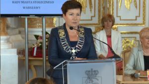 Hanna Gronkiewicz-Waltz  Prezydent Warszawy  Uroczysta sesja Rady Miasta Warszawy na Zamku Królewskim