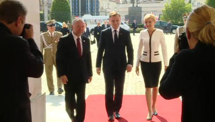 Uroczyste powitanie Prezydenta RP Andrzeja Dudy w Pałacu Prezydenckim fot. ŚWIECZAK