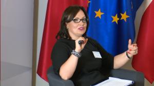 """Elwira Gross-Gołacka, Dyrektor Generalna, MG Konferencja """"Biznes a wyzwania społeczne, środowiskowe i gospodarcze kraju. Rola i odpowiedzialność"""" fot.ŚWIECZAK"""