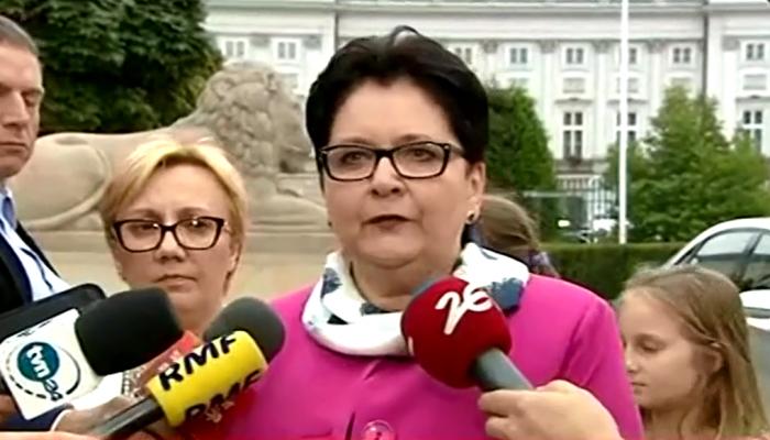 Teresa Piotrowska Szefowa MSW po spotkaniu z prezydentem Andrzejem Dudą