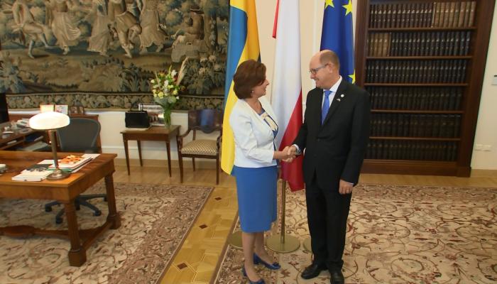 Marszałek Sejmu Małgorzata Kidawa-Błońska spotkała się z przewodniczącym Riksdagu Urbanem Ahlinem fot. ŚWIECZAK