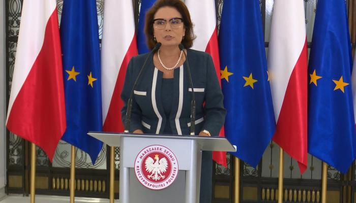 Briefing marszałek Sejmu Małgorzaty Kidawy-Błońskiej przed 99 posiedzeniem sejmu fot. ŚWIECZAK