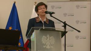 """Maria Ciechanowska Dyrektor INiG – PIB Konferencja """"Doświadczenia z wdrażania funduszy europejskich 2007–2013 w sektorze energetyki w ramach POIiŚ"""" fot. ŚWIECZAK"""