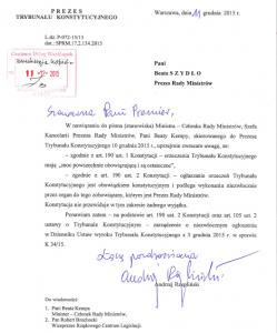 Odpowiedz Prezesa TK Andrzeja Rzeplińskiego do Premier Beaty Szydło Witek ws. TK: Wyrok będzie drukowany