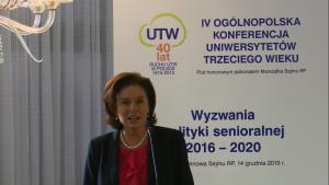 Małgorzata Kidawa-Błońska wicemarszałek Sejmu IV Ogólnopolska Konferencja Uniwersytetów Trzeciego Wieku fot. ŚWIECZAK