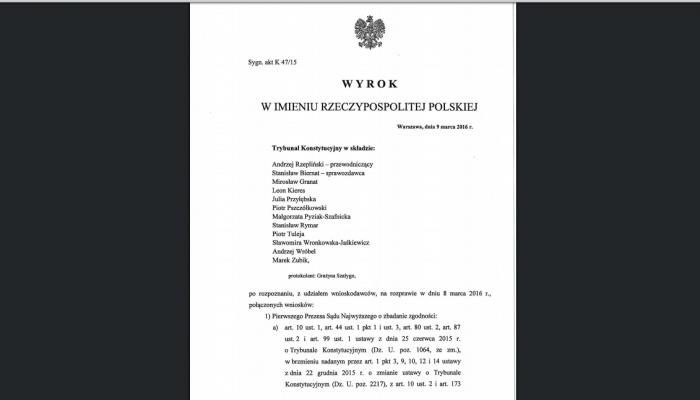 Trybunał Konstytucyjny ogłosił wyrok w sprawie nowelizacji ustawy o TK autorstwa PiS: niezgodna z konstytucją fot. ŚWIECZAK
