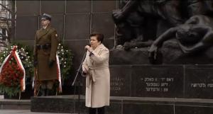 Hanna Gronkiewicz-Waltz Prezydent Warszawy 73. rocznica wybuchu powstania w getcie warszawskim fot. ŚWIECZAK