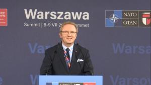 Konferencja prasowa Krzysztofa Szczerskiego na zakończenie szczytu NATO fot. ŚWIECZAK