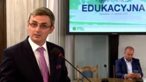 Krystian Jarubas członek Sejmowej Komisji Edukacji, Nauki i Młodzieży Konferencja edukacyjna PSL fot. ŚWIECZAK