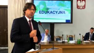 Bogdan Banaszczak, nauczyciel, Dyrektor Zespołu Szkół w Drobinie, Radny Rady Powiatu w Płocku Konferencja edukacyjna PSL fot. ŚWIECZAK