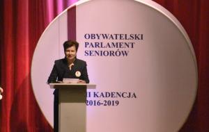 Hanna Gronkiewicz-Waltz Prezydent m.st.Warszawy Obywatelski Parlament Seniorów, II kadencja 2016-2019 fot. ŚWIECZAK