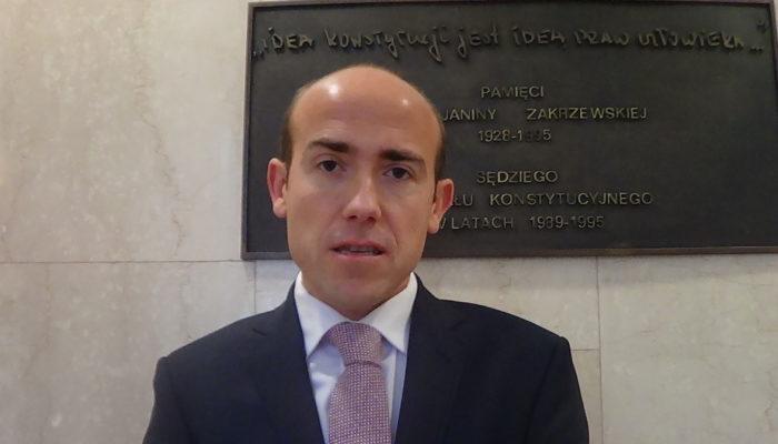 Wypowiedź posła Borysa Budki przed rozprawą w TK dotyczącą zasady powołania prezesa i wiceprezesa TK fot. ŚWIECZAK
